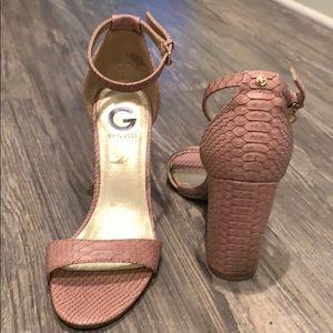 Snake skin print block heels